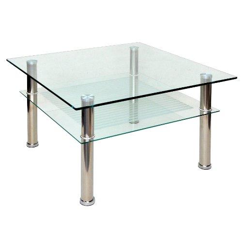 Table basse à plateau en verre 80 x 80 cm-table d'appoint en acier inoxydable et verre de sécurité eSG 10 mm