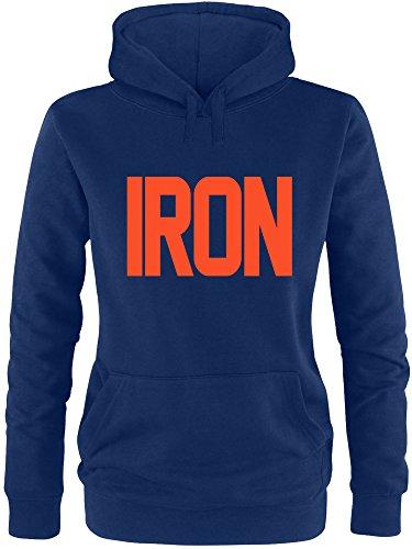 EZYshirt® Iron Damen Hoodie Navy/Orange