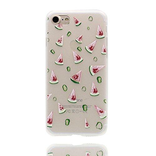 Custodia iPhone 7, Silicone trasparente Cartoon Stile del modello Case Con materiale di alta qualità & morbido & & Ultra sottile iPhone 7 copertura 4.7 Graffi Prova / anguria anguria
