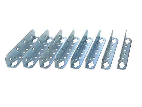 Gedotec Möbelverbinder Metall Bettverbinder HS mit Schlüssellochstanzung | Höhe 127 mm | Einhängeverbinder mit Sicherungslöchern | Winkel Metall verzinkt | 8 Stück - Bettwinkel-Verbinder zum Schrauben -