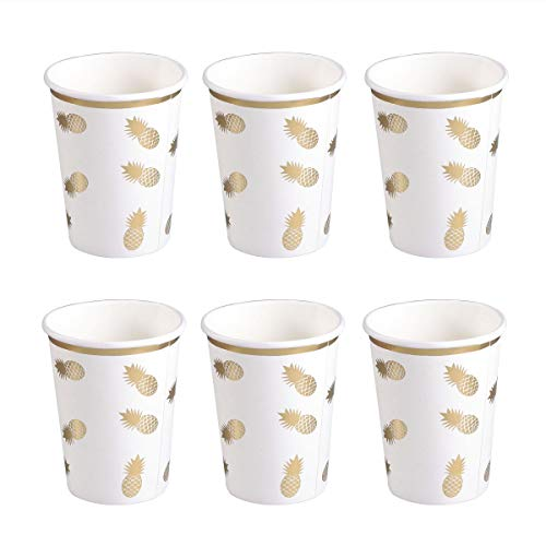 il Disposable Tableware Party Paper Cup Paper Tableware for Party Baby Shower Birthday Party Supplies(Bronzing Pineapple Paper Cup) ()