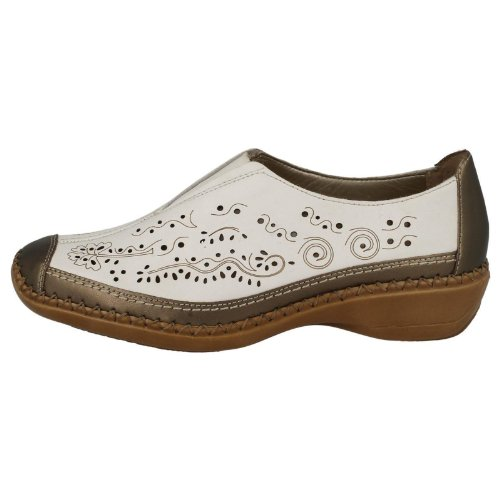 Mesdames remonte Casual Chaussures en cuir d1617 - White Combi