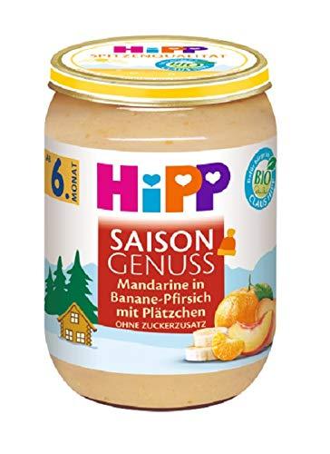 Hipp Frucht & Getreide, Saison Genuss Mandarine in Banane-Pfirsich mit Plätzchen, 6er Pack (6 x 190 g)