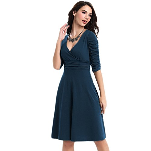 WintCo Damenkleid Party Büro Reise Fashion Kleid 1/2 Ärmel Kleid Dunkel blau-2