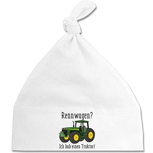 Shirtracer Fahrzeuge Baby - Rennwagen? Traktor! - Unisize - Weiß - BZ15 - Baby Mütze mit einfachem Knoten als Geschenkidee (Digger Mütze)