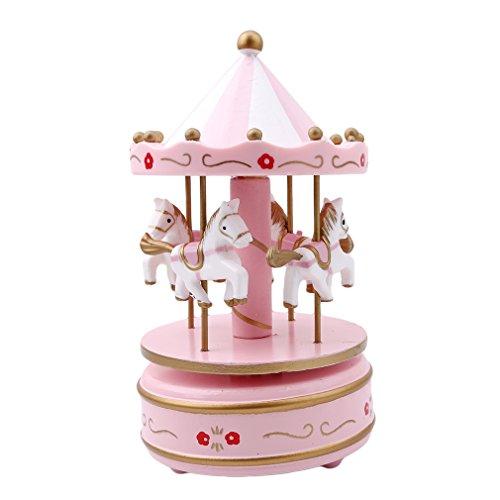 HENGSONG Klassisches Holz Karussell Pferde Drehen Musik Spieluhr Home Ornament Dekoration Kinder Spielzeug Weihnachts Geburtstag Geschenk (Rosa) Rosa Karussell-spieluhr