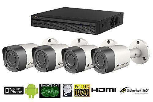 1080p HDCVI 4 Kanal Videoüberwachung Set mit 4 außen/innen Überwachungskameras mit Nachsicht in Full HD Qualität!