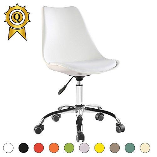 ¡VENTA! 1 x Tulip Inspirado piernas Silla de oficina de acero con ruedas Asiento con el amortiguador Color Blanco Mobistyl® DSO-WH-1