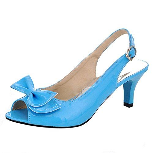 Medio Tacco Bowknot Sandali Slingback Moda Donna Con Taoffen Gattino Scarpe Blu FE1qvw