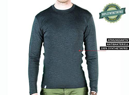 Alpin Loacker Merino Shirt Langarm 230g/m | 100% Merinowolle Sweatshirt Herren | wärmeregulierendes Langarmshirt für Männer Sport & Freizeit | Größenwahl