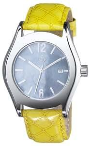 Joy By Joy JW541 Ladies Oversize Banana Yellow Redondos Watch with Calendar, Soft Grey Mother of Pearl Dial