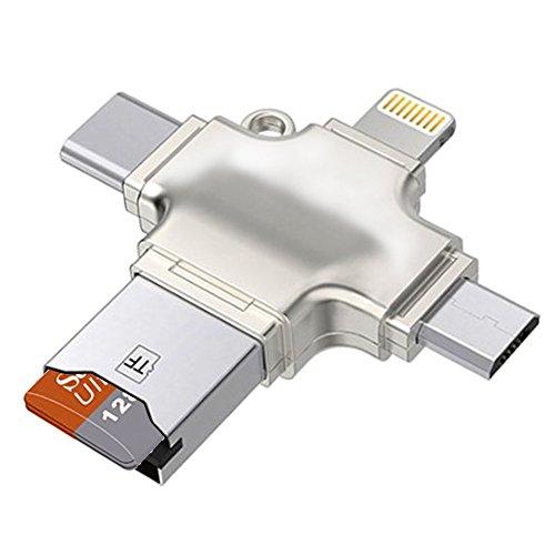 Semoic 4 in 1 Speicherkartenleser, Micro-SD/TF Kartenleser mit Blitz,USB C, USB und Micro-USB Schnittstellen, USB/Kartenleser