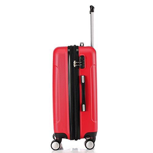 Zwillingsrollen 2050 Hartschale Trolley Koffer Reisekoffer in M-L-XL-Set in 12 Farben (M, Rot) - 3