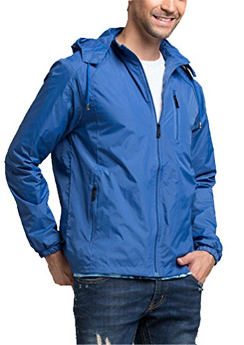 Brinny Herren Teenager wasserdicht Windbreaker Sportjacke Kapuzen-jacke Funktionsjacke Outdoor Sport Licht dünne Sonnenschutz Casual Trenchcoat Regen-coat Blau