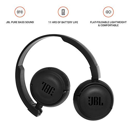 JBL T460BT Extra Bass Wireless On-Ear Headphones with Mic (Black) Image 2