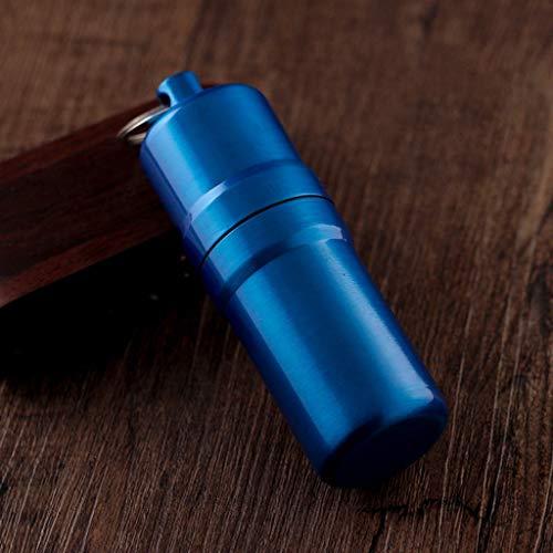 YHPDD Zylinderförmige Zigarettenetui 10 Stöcke tragbare Metall-Zigarettenschachtel mit Schürze im Freien wasserdicht,Blue,10x3cm