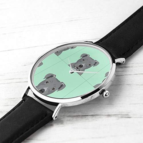 Unisex Ultra Thin Fashion Minimalist Wrist Watches Pitbull Grey Dog with Cut Lines Dog Panel, Dog, Cut and Sew Waterproof Quartz Casual Watch Mens Womens -