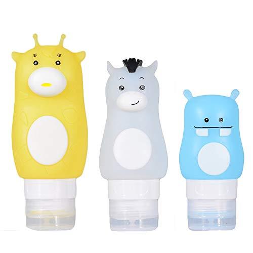 Onebycitess 3 Stücke Silikon Reiseflaschen Set Cartoon Nachfüllbar Squeezable Container Airline Weitermachen Aufbewahrungsflasche für Shampoo Lotion Sunblock Kosmetik Toilettenartikel -
