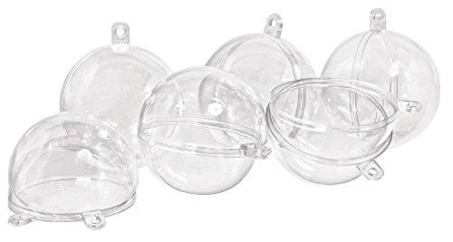 Preisvergleich Produktbild Acrylkugeln, 6 Stück, Ø 4 cm, Kunststoff, teilbar, mit Aufhängeöse