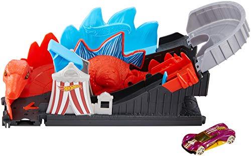 Mattel- Hot Wheels-City Dino-Ataque a la montaña Rusa, Pistas de Coches de Juguetes niños +4 años GBF93