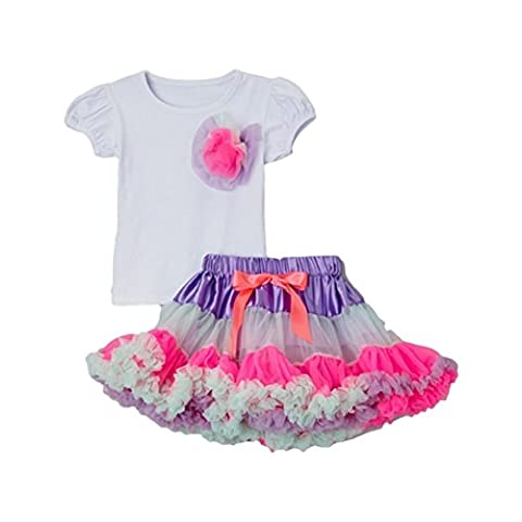 Royal Gem Little Girls White Pink Cotton Candy Pettiskirt 2 Pc Set 2T/4T