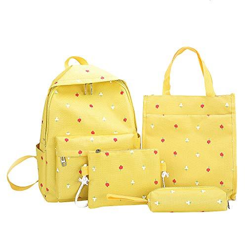 Pingtr - Schulrucksack,4pcs Frauen Canvas Schultasche Rucksack + Single Shoulder Bag + Totes + Handtasche - Gelb,29 cm (L) x 14 cm (B) x 39 cm (H) - Tiger Canvas Tote Bag