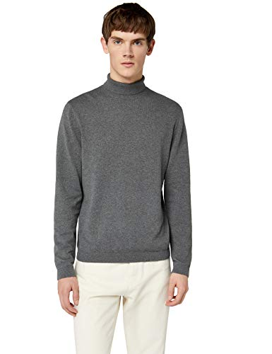 FIND Herren Pullover Cotton Roll Neck, Grau (Charcoal Grey Marl), Small