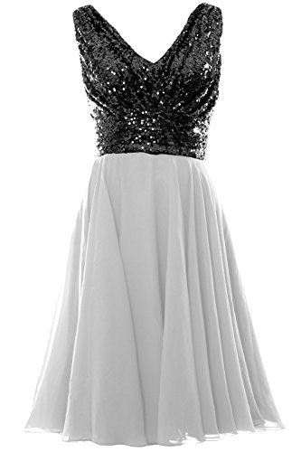 MACloth Women V Neck Sequin Chiffon Short Bridesmaid Dress Formal Evening Gown Black-Ivory