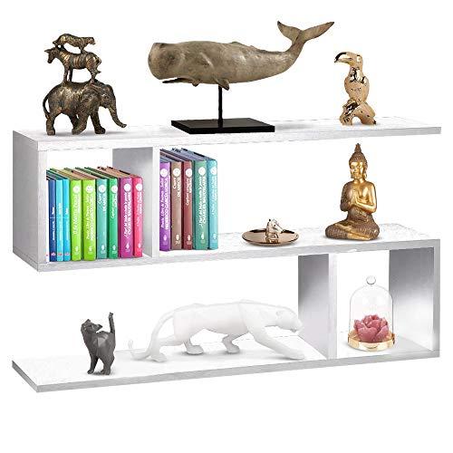 BAKAJI Libreria Bassa Scaffale 5 Ripiani in Legno Melaminico Design Moderno per Soggiorno Salotto Casa o Ufficio Dimensione 80 x 20 x 50,5 cm (Bianco)