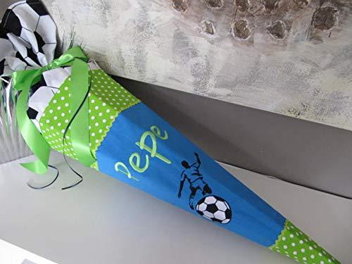 #101 Fussball Kicker Fussballer türkis-grün Schultüte Stoff + Papprohling + als Kissen verwendbar