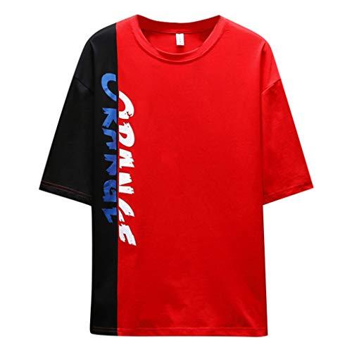 Tyoby Herren Mode halbe Hülse Nähen T-Shirt Bedrucken,Straße Hipster Persönlichkeit Herrenbekleidung (rot,XL)