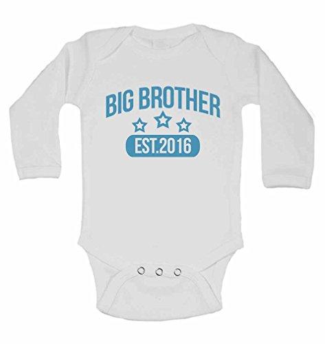 Big-brother-baby-strampelanzug (Big Brother Est. 2016–personalisierbar Lange Ärmel Baby Westen Bodys Baby wächst für Jungen–weiß weiß weiß 2 - 3 Jahre)
