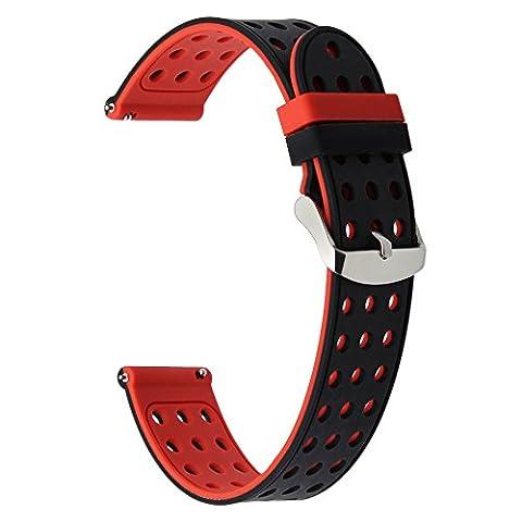 TRUMiRR 20mm Quick Release Watch Band Bracelet en silicone pour Samsung Gear S2 Classic (SM-R732 / R735), Huawei Montre 2 (Sport), Moto 360 2 42mm Hommes, Pebble Time Round 20mm, Bradley Timepiece
