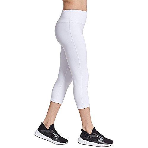 COOLOMG Damen Yoga Capris 3/4 Hosen Kompression Leggings Sport Trainingshose Weiß XL -