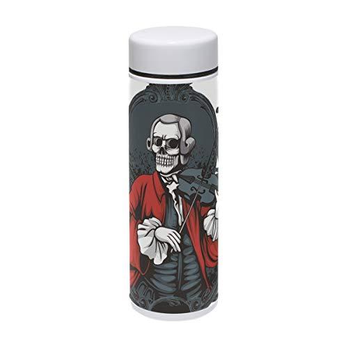 (Muooum Musiker Skull Play Violine Vakuum-isolierte Edelstahl-Reisebecher Sport Wasserflasche 19,1 ml heiß für 12 Stunden)