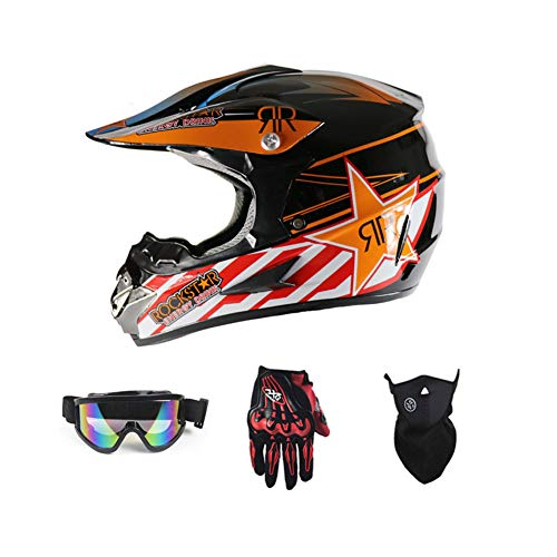 LEENY Motocross Helm Herren Crosshelm mit Brille Handschuhe Maske Vier Jahreszeiten Unisex, Motorradhelm DH Enduro Quads Motorrad Offroad-Helm für Erwachsene Männer Frauen,Orange,L