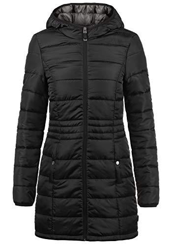 VERO MODA Palina Damen Steppmantel Übergangsmantel Lange Jacke gefüttert mit Kapuze, Größe:L, Farbe:Black