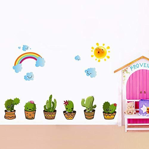 Wandsticker Blumen 1 Stücke Blumenerde Kaktus Topf Blume Regenbogen Wandaufkleber Für Kinder Schlafzimmer Esszimmer WohnzimmerWandtattoos Wohnkultur 45 Cm * 60 Cm