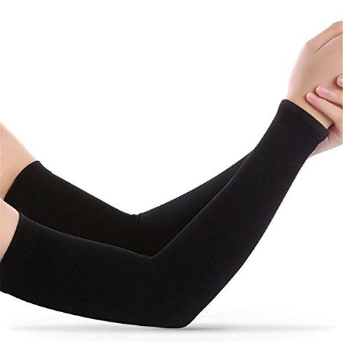 Hippolo Reiten Arm Sleeves Elbow Ärmel Sonnenschutz für Damen und Herren Kühlung Radsport Armlinge (Schwarz 1)