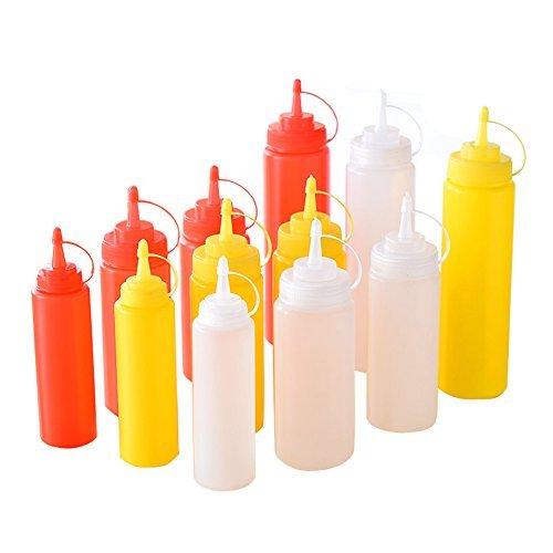3pcs condimento Dispensador Salsa Squeeze botellas de plástico/recipiente para mostaza Ketchup aceite crema miel y aliños, plástico, 480ML