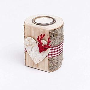 Woods Teelichthalter aus Holz mit Glaseinsatz und Filzmotiv Hirschkopf I handgefertigt in Bayern I rustikale Tisch-Deko Weihnachtsdeko I Holz-Deko Windlicht I Teelicht Kerzenhalter 10 cm I 1 Stück