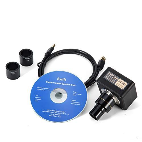 SWIFT Optical Swiftcam 10 Megapixel Kamera für Mikroskope, mit Verkleinerungsobjektiv, Kalibriersatz, Okular-Adapters, und USB 3.0 Kabel, Kompatibel mit Windows/Mac/Linux