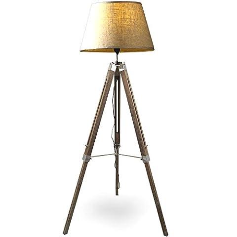 MOJO® Stehlampe Höhenverstellbar Stehleuchte Tripod Lampe Dreifuss mq-l62 (Schirm Beige,
