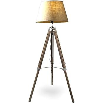 MOJO® Stehlampe Höhenverstellbar Stehleuchte Tripod Lampe Dreifuss Mq L62  (Schirm Beige, Beschläge Chrom)