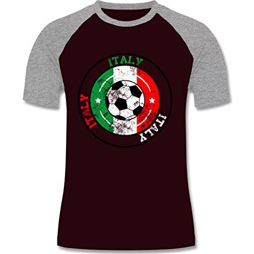 EM 2016 - Frankreich - Italy Kreis & Fußball Vintage - zweifarbiges Baseballshirt für Männer Burgundrot/Grau meliert