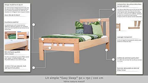"Single bed ""Easy Sleep"" K8, solid, natural beech wood - Dimensions: 90 x 200 cm"