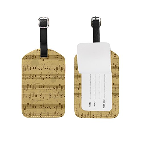ALAZA Note di musica foglio d'epoca Di Etichetta bagaglio pu borsa di pelle Tag valigie di viaggio ID identificativo del bagaglio Etichetta