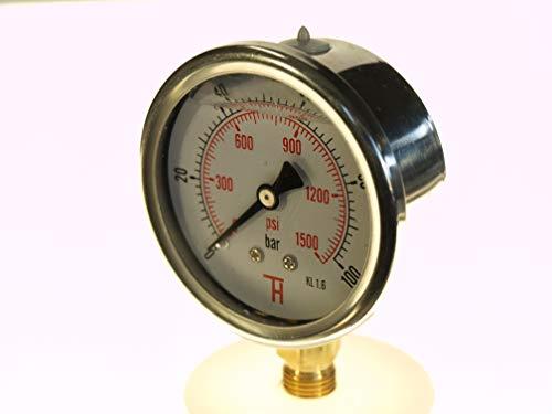 THERMIS Manometer 304G 1/4 Anschluss von unten (0 - 100 bar) 63 mm -