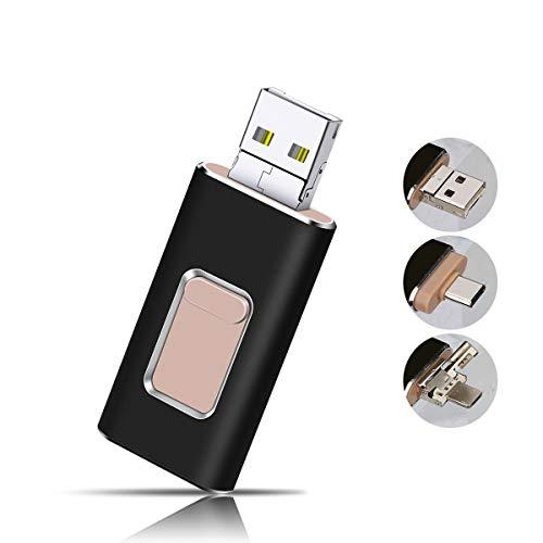 USB Stick 32GB Flash Speichererweiterung USB 3.0 Externer Speicherstick Flash Laufwerk Drive für Apple iOS iPhone iPod iPad Handy OTG Type C Andriod Computer Mac Laptop PC (schwarz) (Apple Laptop Schwarz)