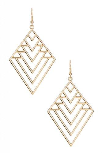 LUX Zubehör Diamant Chevron Geo geometrische Dreieck Dreikant Statement Ohrringe (Chevron Ohrringe Gold)